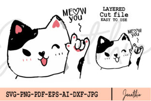 Cute Cat Love You Hand Gesture Vector Graphic Illustrations By Janatshie
