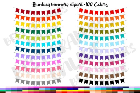100 Banners Clipart Garland Party Flags Graphic Illustrations By bestgraphicsonline