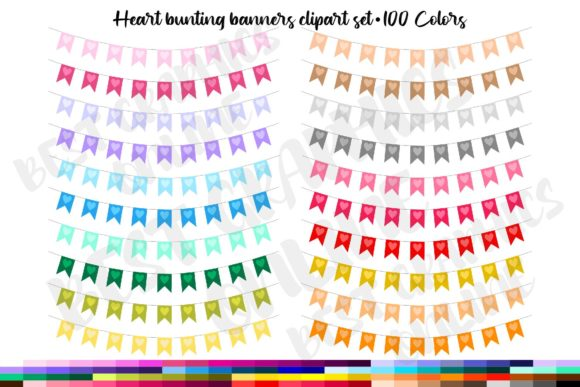 100 Heart Bunting Banners Clip Art Set Graphic Illustrations By bestgraphicsonline