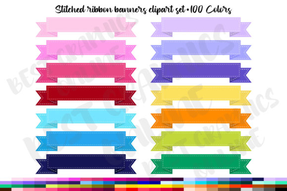 100 Stitched Ribbon Banners Clipart Set Graphic Illustrations By bestgraphicsonline
