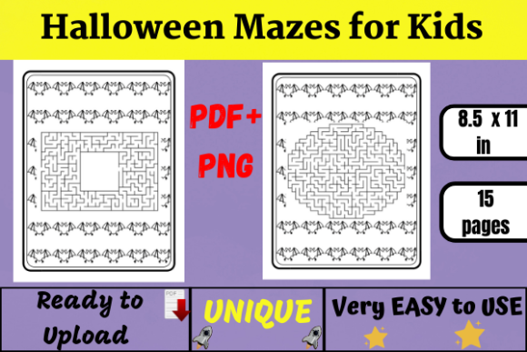 15 Mazes Halloween Activity Book (KDP) Graphic KDP Interiors By Wiss_Tips designs