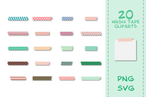 Print on Demand: 20 Japanese Washi Tape in Illustrator Graphic Crafts By IsaraDesign