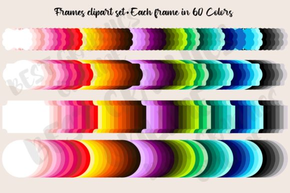 240 Colorful Frames Clipart Set Labels Graphic Illustrations By bestgraphicsonline