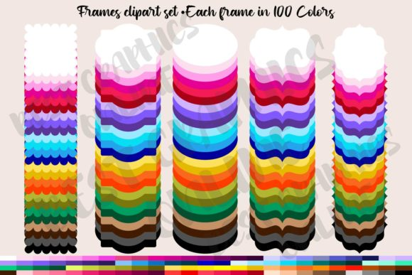 500 Rainbow Frames Clipart Set Labels Graphic Illustrations By bestgraphicsonline