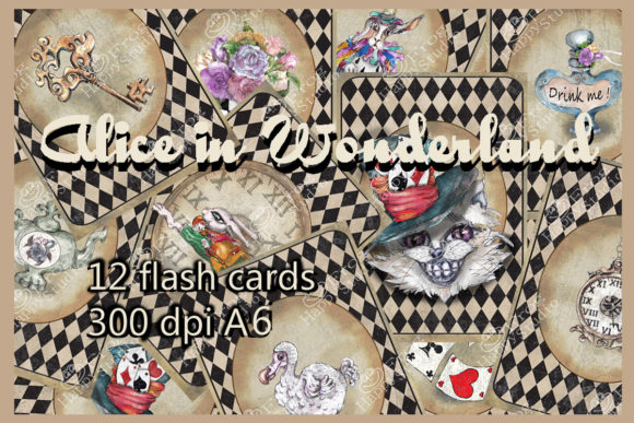 Alice in Wonderland Flash Cards Pack Graphic Illustrations By arevkasunshine