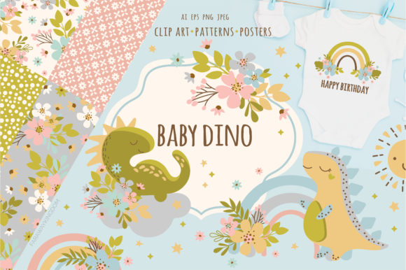 Print on Demand: BABY DINO Kid Vector Illustration Set Graphic Illustrations By FARAWAYKINGDOM