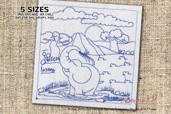 Baby Elephant Drinking Water Wild Animals Embroidery Design By Redwork101