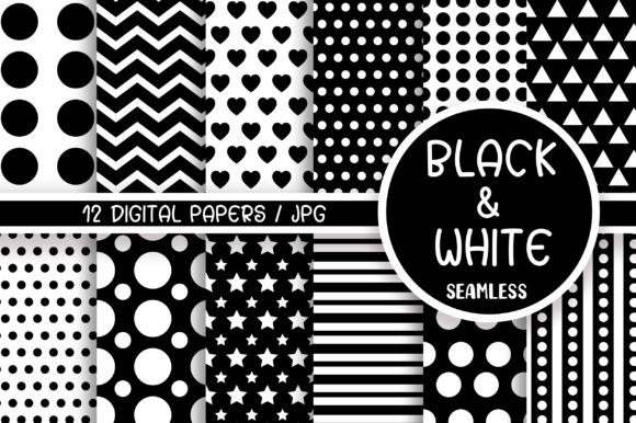 Black and White Seamless Pattern Graphic Patterns By PinkPearly