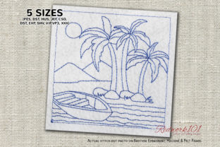 Boat on the Beach Bluework Beach & Nautical Embroidery Design By Redwork101