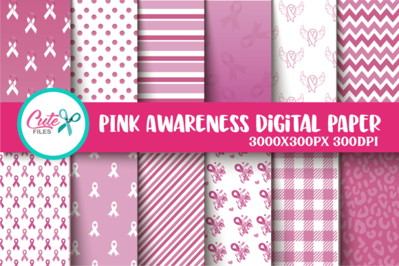 Breast Cancer Awareness Digital Paper Graphic Textures By Cute files