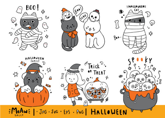 Cartoon Cute Halloween Cat Set Graphic Illustrations By Meawsally