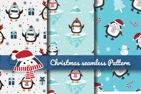 Print on Demand: Christmas Penguin Seamless Pattern Graphic Patterns By jannta
