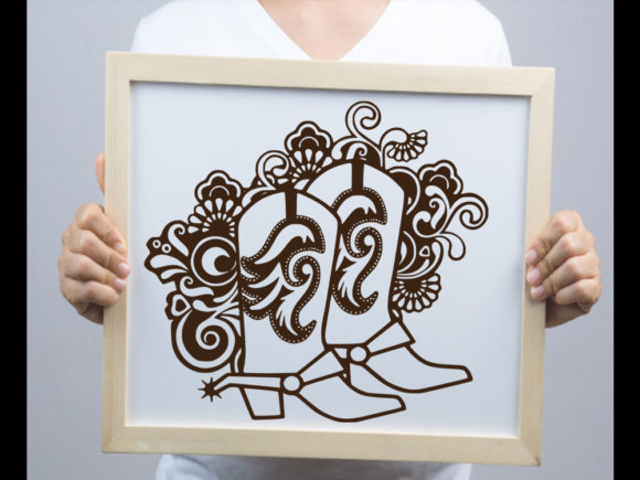 Print on Demand: Cowboy Boot Swirls SVG & Cut File Graphic Print Templates By johanruartist