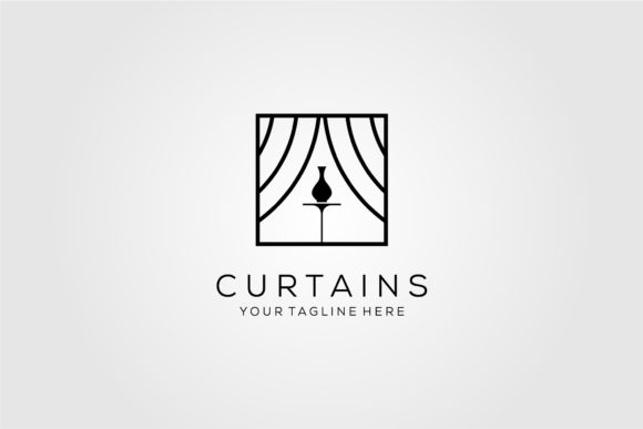 Curtains Logo Line Art Vector Design Graphic Logos By lawoel