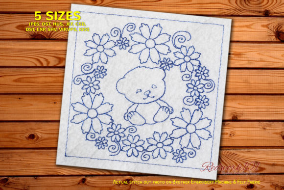 Cute Baby Bear in Floral Circle Wild Animals Embroidery Design By Redwork101