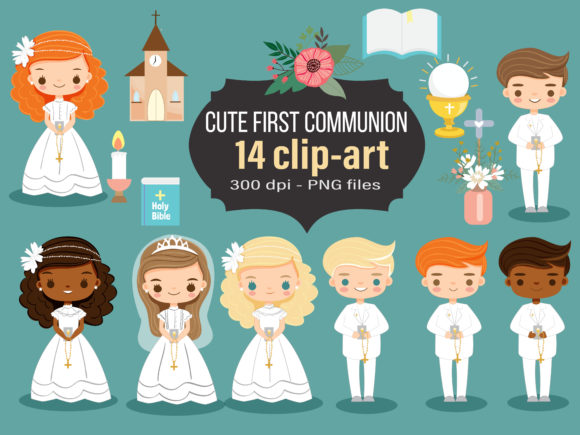 Cute First Communion Cartoon Clip-art Graphic Illustrations By Gingerstudio072