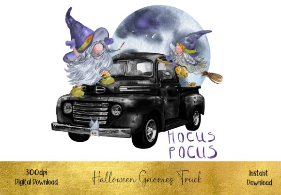 Cute Halloween Gnome Truck Graphic Illustrations By STBB