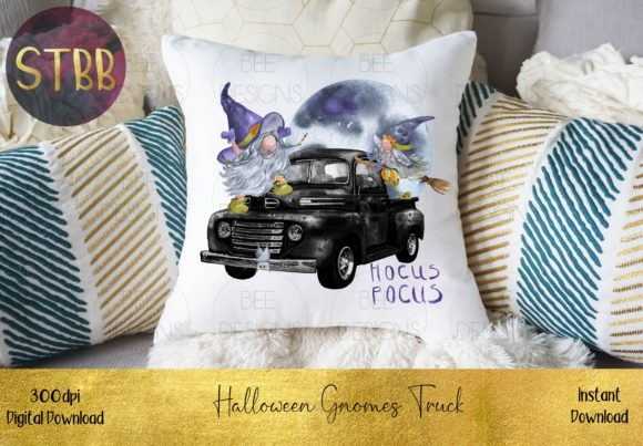 Cute Halloween Gnome Truck Graphic Download