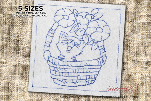 Cute Kitten in Basket Bluework Cats Embroidery Design By Redwork101