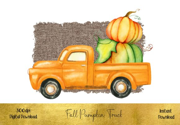 Cute Pumpkin Truck Graphic Illustrations By STBB