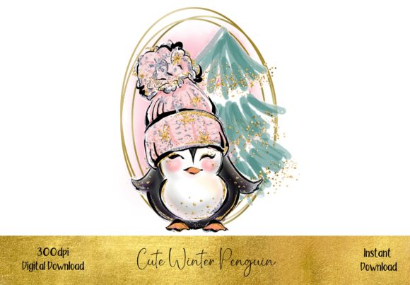 Cute Winter Penguin Graphic