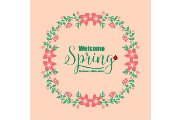 Cute Welcome Spring Greeting Crad Design Graphic Backgrounds By stockfloral