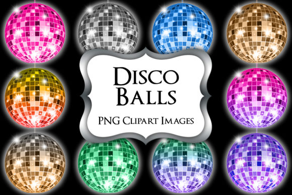 Print on Demand: Disco Balls PNG Clipart Graphic Illustrations By Party Pixelz