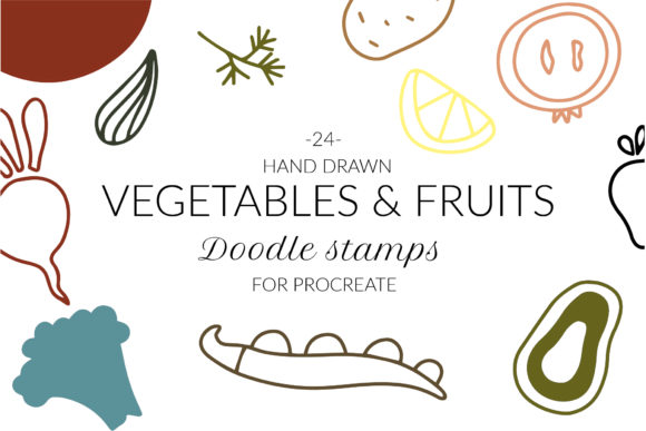 Doodle Abstract Veggies, Fruit Stamps Graphic Brushes By cyrilliclettering