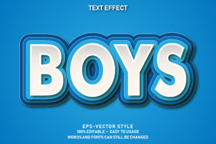 Print on Demand: Editable Text Effect Boys Paper Premium Graphic Graphic Templates By yosiduck