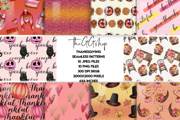 Print on Demand: Fall & Thanksgiving Seamless Patterns Graphic Patterns By TheGGShop