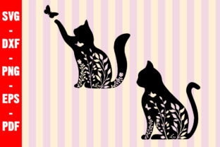 Print on Demand: Floral Cat Paws Lovers Graphic Crafts By creativeshohor