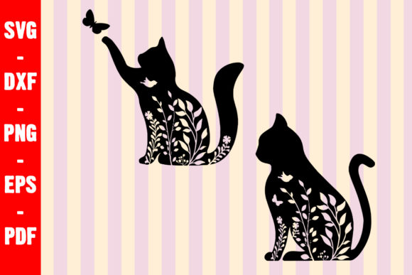 Floral Cat Paws Lovers Graphic Crafts By creativeshohor