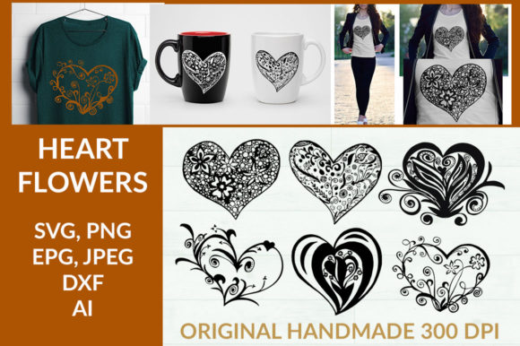 Print on Demand: HEART FLOWERS CUT FILE Graphic Crafts By YanIndesign
