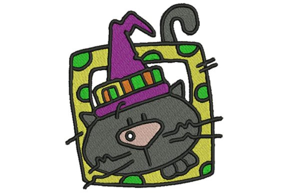 Halloween Block Cat Halloween Embroidery Design By BabyNucci Embroidery Designs