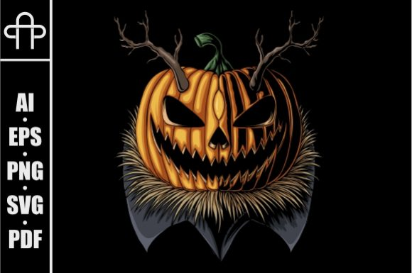 Print on Demand: Halloween Pumpkin Horned Graphic Illustrations By Andypp