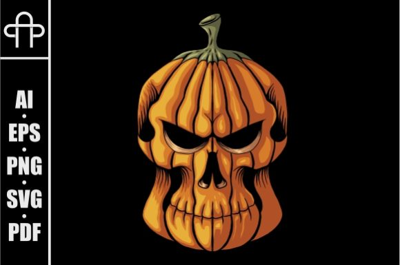 Print on Demand: Halloween Pumpkin Skull Head Graphic Illustrations By Andypp