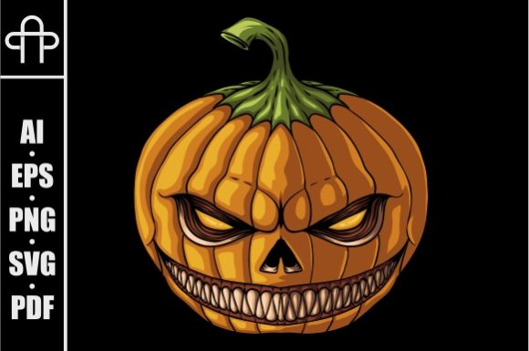 Print on Demand: Halloween Pumpkin Smile Evil Graphic Illustrations By Andypp