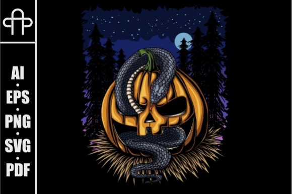 Print on Demand: Halloween Pumpkin Snake Graphic Illustrations By Andypp