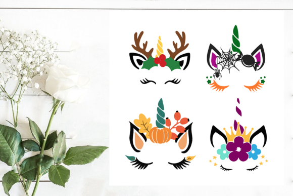 Print on Demand: Halloween Unicorn Vector Clipart Graphic Print Templates By SVG Creation