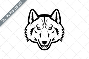 Print on Demand: Head of Artic Wolf Front View Mascot Graphic Illustrations By patrimonio