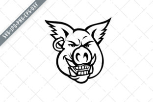Print on Demand: Head of Pink Pig Wearing Earring Smiling Graphic Illustrations By patrimonio