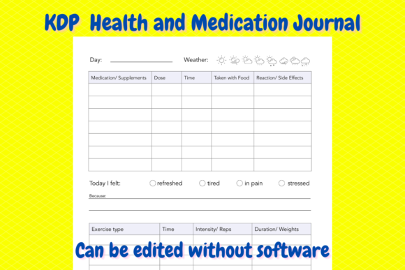 Print on Demand: Health and Medication Journal for KDP Graphic KDP Interiors By Income Plum