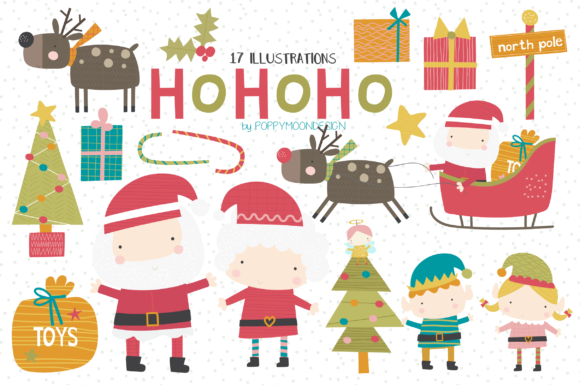 Print on Demand: HoHoHo Clipart Set Graphic Illustrations By poppymoondesign