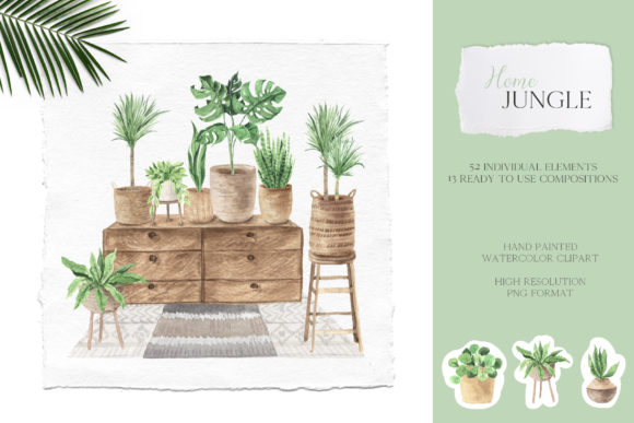 Home Jungle - Boho Plants Set Graphic Illustrations By Larysa Zabrotskaya