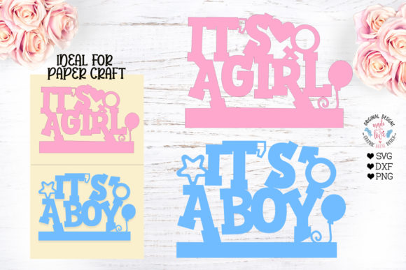 It's a Girl - It's a Boy - Baby Shower Graphic Illustrations By GraphicHouseDesign