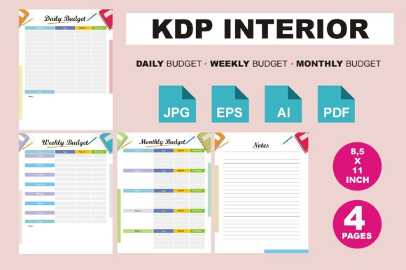 Print on Demand: KDP Interior Daily Weekly Monthly Budget Graphic KDP Interiors By edywiyonopp