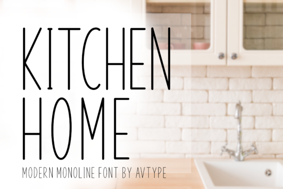 Print on Demand: Kitchen Home Sans Serif Fuente Por AV Type