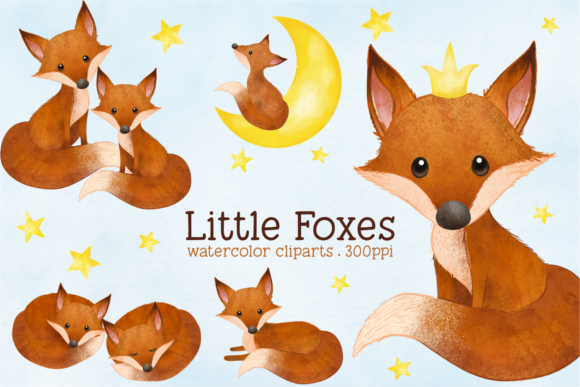 Print on Demand: Little Fox Watercolor Animal Clip Arts Graphic Illustrations By vivera