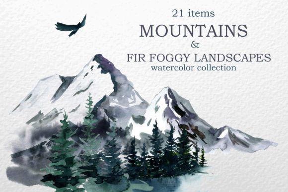 Mountains, Landscapes Watercolor Clipart Graphic Illustrations By lena-dorosh