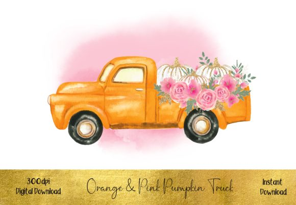Orange & Pink Pumpkin Truck Graphic Illustrations By STBB